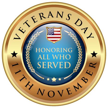 Illustration for Veterans Day badge - Royalty Free Image