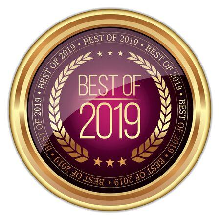 Best of 2019. Vector Golden Badge.