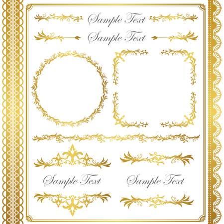Illustration pour gold frame set - image libre de droit