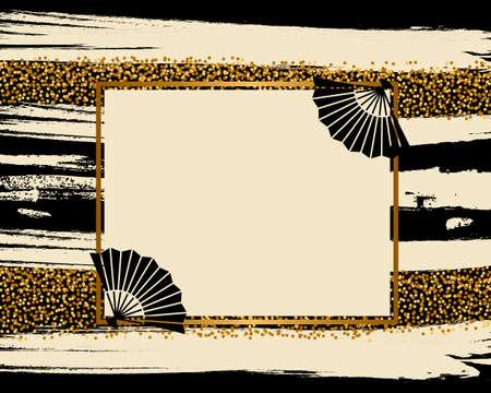 Illustration pour vector background of golden japanese pattern - image libre de droit