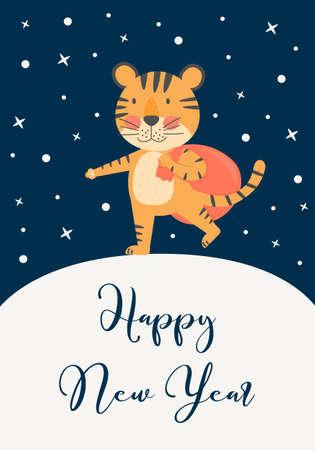 Ilustración de Happy New Year greeting card with cute tiger, symbol 2022, year mascot. Holiday winter and christmas concept with vector flat character - Imagen libre de derechos
