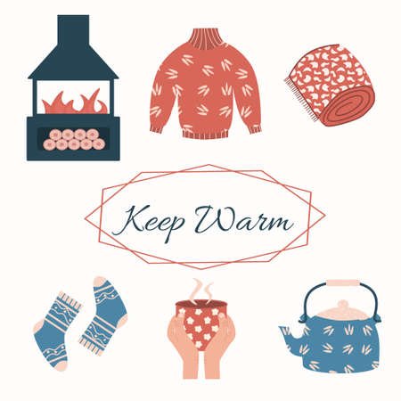 Illustration for Keep warm set - fireplace, tea or coffee mug, sweater, socks and teapot. Elements for cold winter or autumn weather. Vector cartoon illustration, isolated on a white background - Royalty Free Image