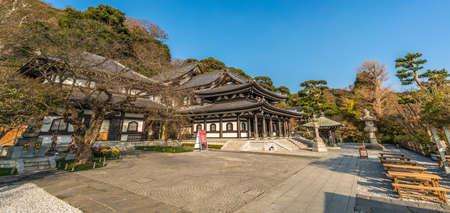 Kamakura, Kanagawa Prefecture, Japan - November 16, 2017 : Panoramic view of Haze-dera temple or Hase-kannon temple. Ishidoro (Stone Lanterns), Kannon-Do hall and Kannon Museum.