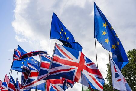 Photo for Bunch Of Flags of European Union and Great Britain. - Royalty Free Image