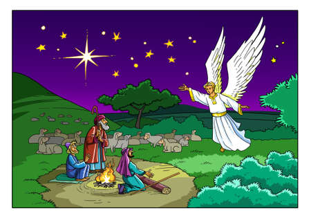 Photo pour The Angel visits the Shepherds on the Field and tells them about the Birth of the Savior in the city of Bethlehem. - image libre de droit
