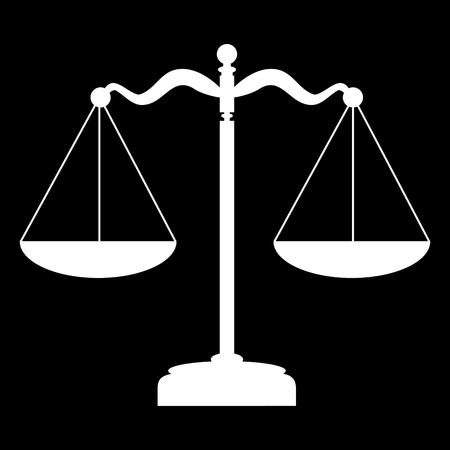 Ilustración de Scales balance icon. Vector illustration. White on the black - Imagen libre de derechos
