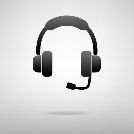 Illustration pour Headset black icon. Creative vector illustration with shadow - image libre de droit
