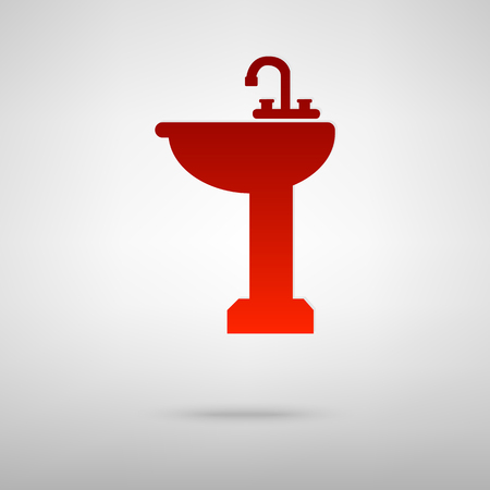Bathroom sink red icon on the grey background