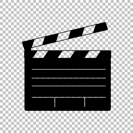Illustration for Film clap board cinema sign. Flat style icon on transparent background - Royalty Free Image