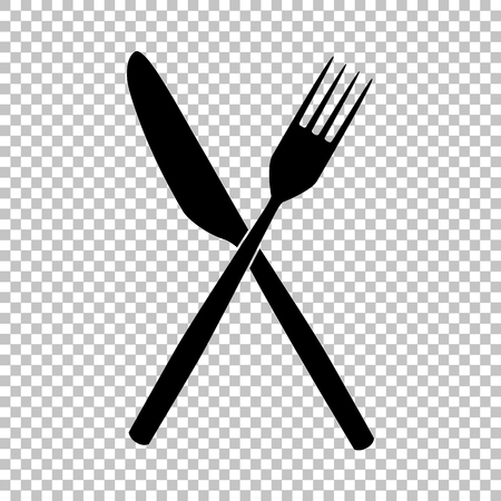 Fork and Knife sign. Flat style icon on transparent background