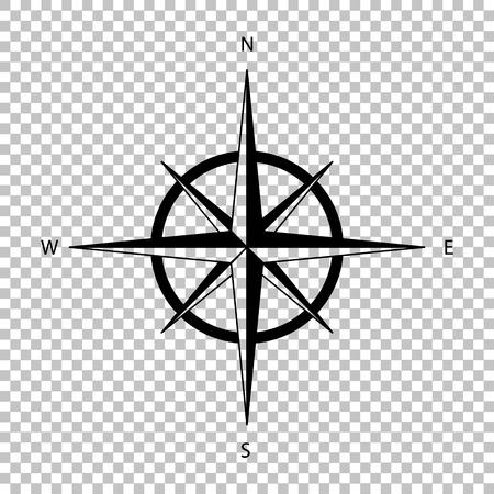 Illustration pour Wind rose sign. Flat style icon on transparent background - image libre de droit