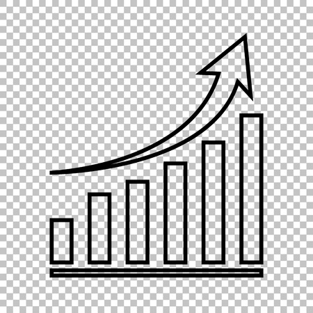 Growing graph line vector icon on transparent background