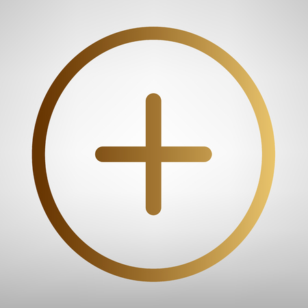 Positive symbol plus sign. Flat style icon with golden gradient