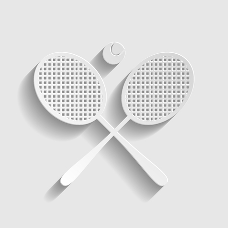 Tennis racket icon. Paper style icon with shadow on gray