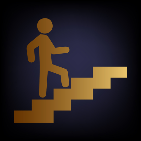 Man on Stairs going up. Golden style icon on dark blue background.