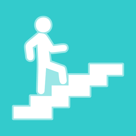 Man on Stairs going up. White icon with whitish background on torquoise flat color.