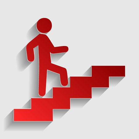 Man on Stairs going up. Red paper style icon with shadow on gray.