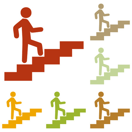 Man on Stairs going up. Colorful autumn set of icons.