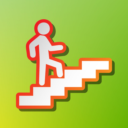Man on Stairs going up. Contrast icon with reddish stroke on green backgound.