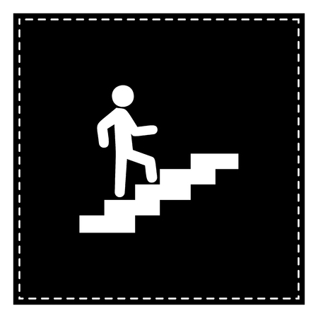 Man on Stairs going up. Black patch on white background. Isolated.