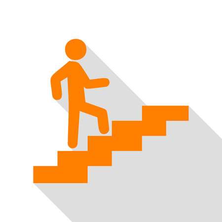 Man on Stairs going up. Orange icon with flat style shadow path.