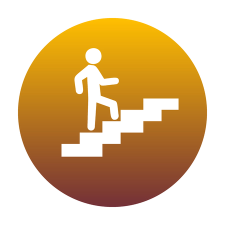 Man on Stairs going up. White icon in circle with golden gradient as background. Isolated.