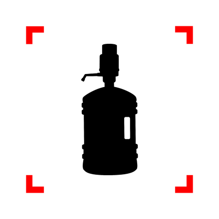 Plastic bottle silhouette with water and siphon. Black icon in f