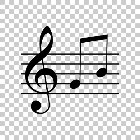 Music violin clef sign. G-clef and notes G, H. Black icon on tra