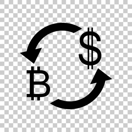 Currency exchange sign. Bitcoin and US Dollar. Black icon on tra
