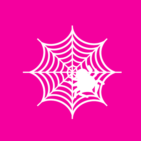 Spider on web illustration White icon at magenta background.