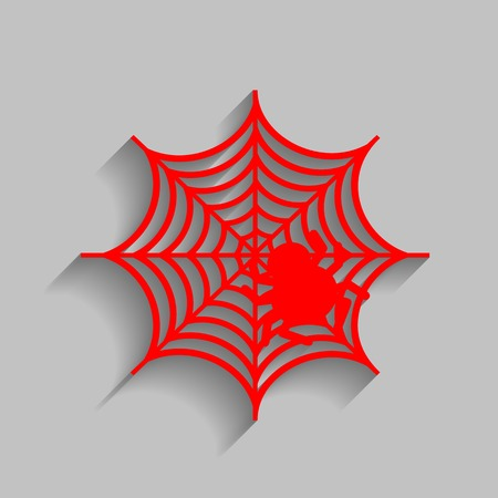 Spider on web illustration Vector. Red icon with soft shadow on gray background.