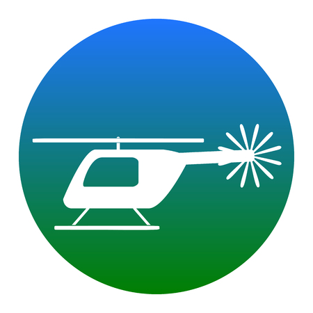 Helicopter sign illustration. Vector. White icon in bluish circle on white background. Isolated.