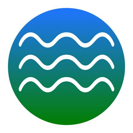 Waves sign illustration. Vector. White icon in bluish circle on white background. Isolated.