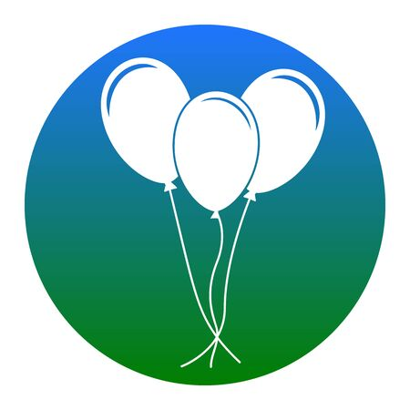 Balloons set sign. Vector. White icon in bluish circle on white background. Isolated.