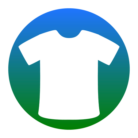 T-shirt sign. Vector. White icon in bluish circle on white background. Isolated.