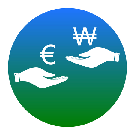 Currency exchange from hand to hand. Euro and Won. Vector. White icon in bluish circle on white background. Isolated.