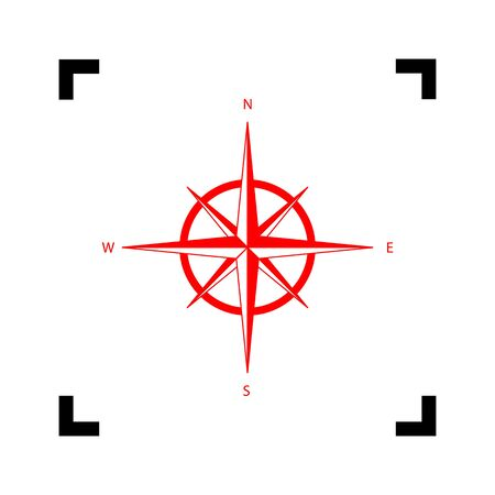 Wind rose sign. Vector. Red icon inside black focus corners on white background. Isolated.
