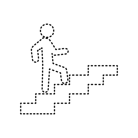 Man on Stairs going up. Vector. Black dashed icon on white background. Isolated.