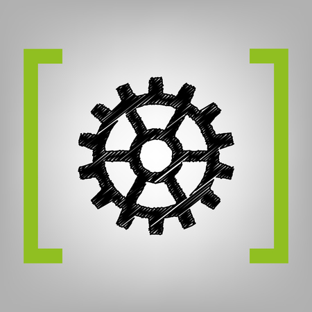 Gear sign. Vector. Black scribble icon in citron brackets on grayish background.