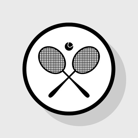 Tennis racket sign. Vector. Flat black icon in white circle with shadow at gray background.
