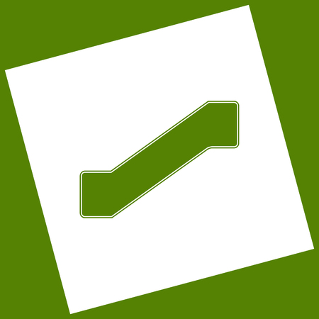 Staircase sign. Vector. White icon obtained as a result of subtraction rotated square and path. Avocado background.