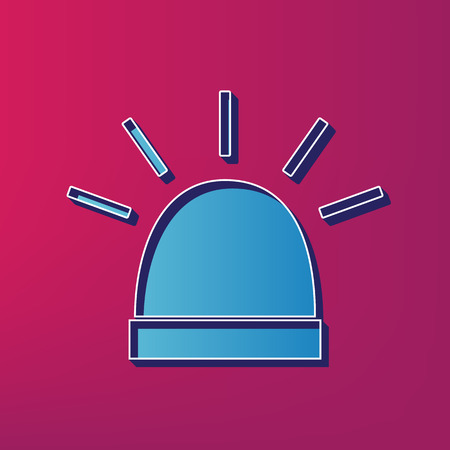 Police single sign. Vector. Blue 3d printed icon on magenta background.