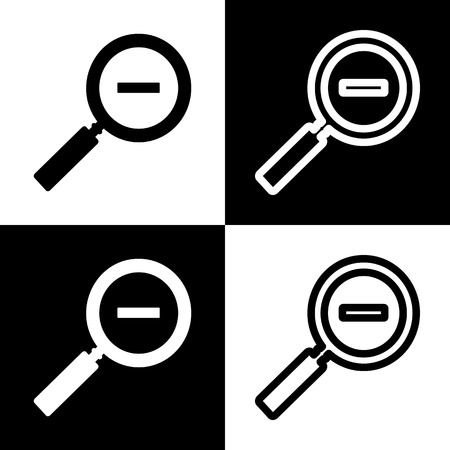Zoom sign illustration. Vector. Black and white icons and line icon on chess board.