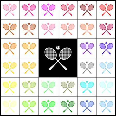 Tennis racket sign. Vector. Felt-pen 33 colorful icons at white and black backgrounds. Colorfull.