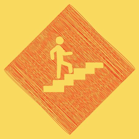 Man on Stairs going up. Vector. Red scribble icon obtained as a result of subtraction rhomb and path. Royal yellow background.