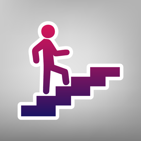 Man on Stairs going up. Vector. Purple gradient icon on white paper at gray background.