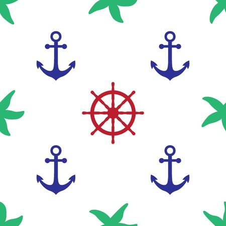Vector seamless pattern with sea symboles. Marine and nautical backgrounds. Sea theme. Background for textile printing and wrapping paper. Vector illustration.