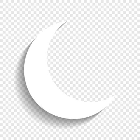 Ilustración de Moon sign illustration. Vector. White icon with soft shadow on transparent background. - Imagen libre de derechos
