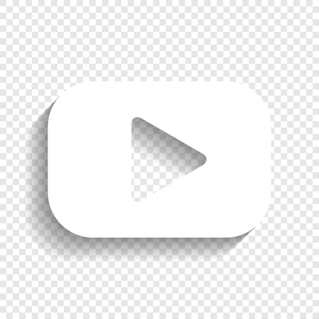 Illustration pour Play button sign. Vector. White icon with soft shadow on transparent background. - image libre de droit
