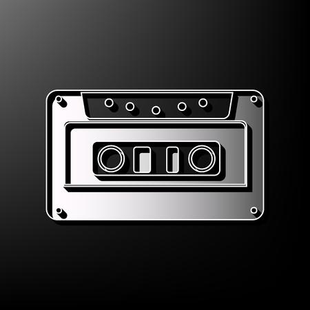 Illustration pour Cassette icon, audio tape sign. Vector. Gray 3d printed icon on black background. - image libre de droit